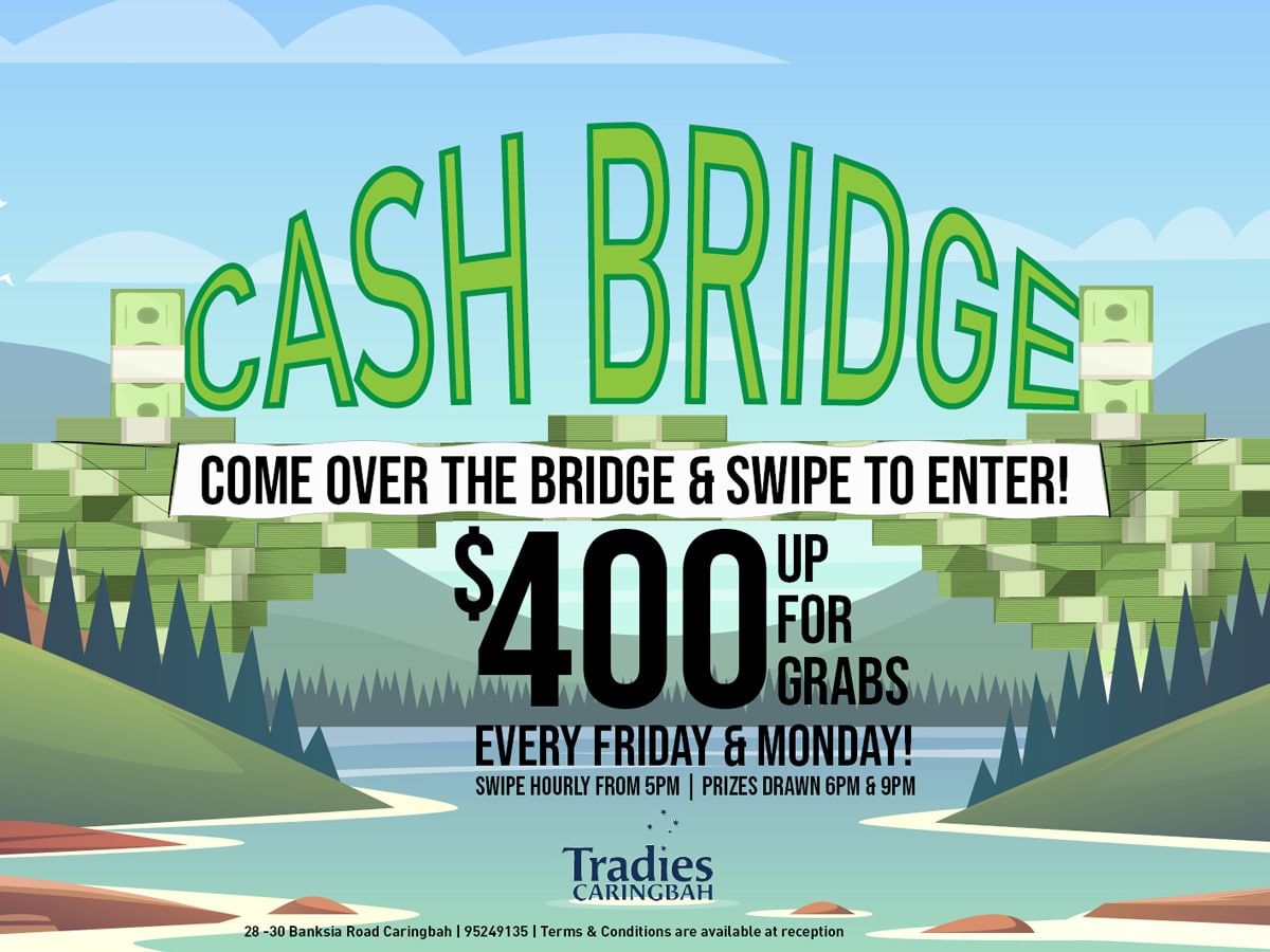Cash Bridge members promotion at Tradies caringbah