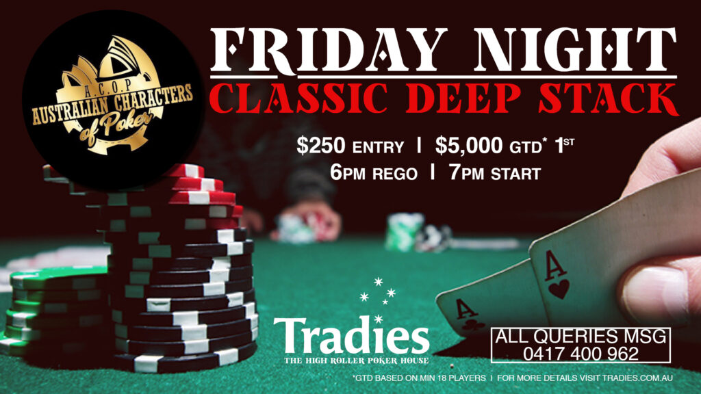 Friday night poker at Tradies Gymea